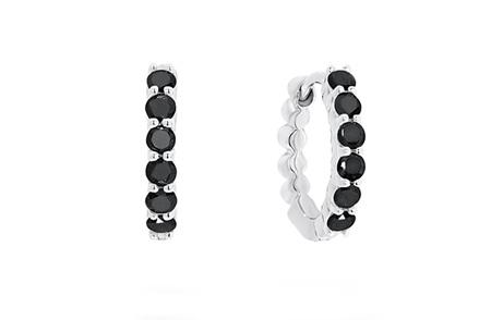 Black Diamond Set Gold Huggie Earrings