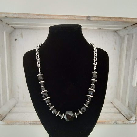 Black Faceted Crystal Necklace