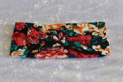 Black & Floral Knot Headband