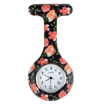 Black Floral Nurse Watch
