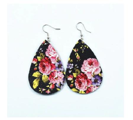 Black Floral TearDrop Earrings