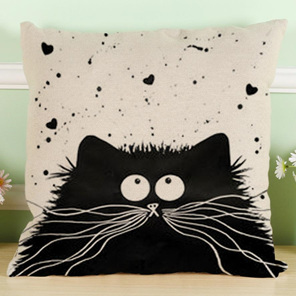 Black Fluffy Cartoon Cat with Hearts Cushion Cover