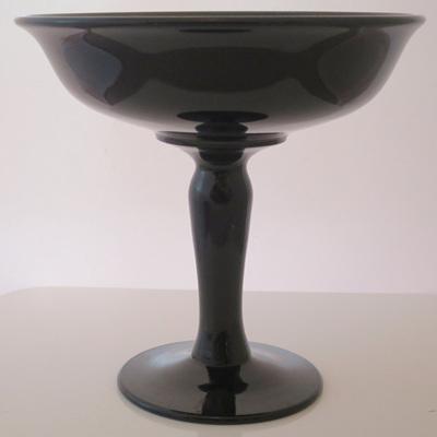 Black glass comport