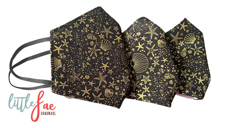 Black & Gold Seashell Face Masks