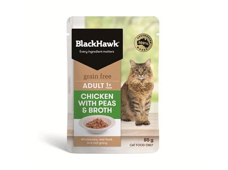 Black Hawk Cat Chicken/Peas/Broth 85g