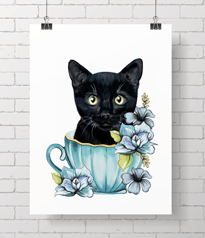 black kitty teacup
