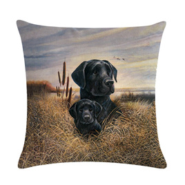 Black Lab Woven Cushion Cover