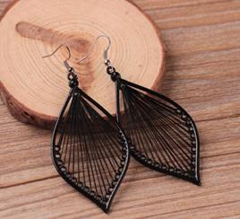 Black Leaf Dangle Earings