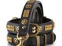 Black leather and brass dog collar for large dogs by Rogue Royalty