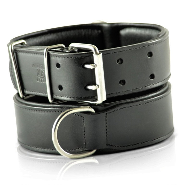 Black Leather Dog Collar for Large Dogs by Rogue Royalty