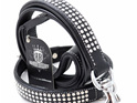Black Leather Dog Collar with Diamantes  for Large Dogs by Rogue Royalty