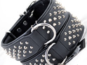 Black Leather Studded Strong Dog Collar by Rogue Royalty