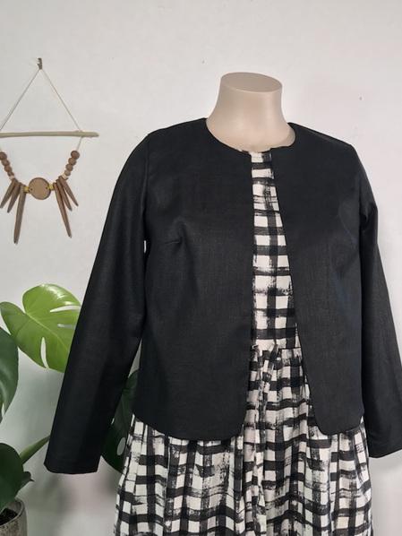 Black linen box jacket