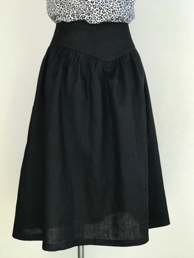 Black linen yoke skirt
