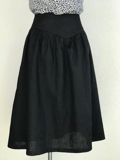 Black linen yoke skirt
