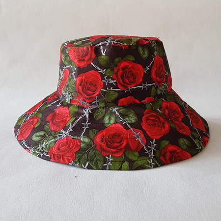 Black Red Roses Bucket Hat - adult size large