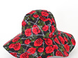 Black Red Roses Sombrero Hat - Adult size large