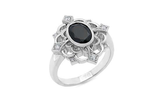 Black Spinel and Diamond Cluster Ring