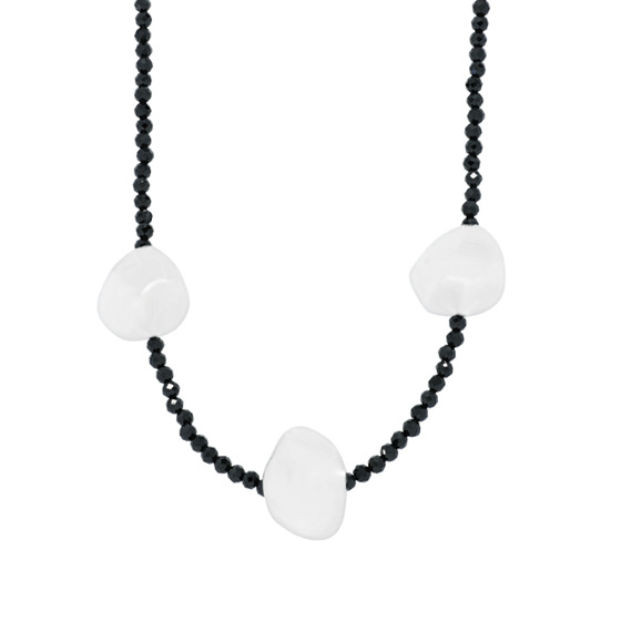 Black Spinel and Triple Sterling Silver Bead Necklace