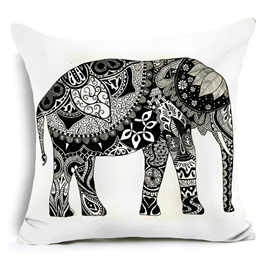 Black & White Abstract Elephant Cushion Cover