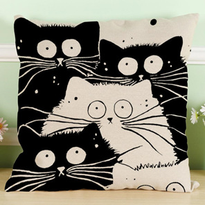 Black & White Cartoon Cat Family Cushion Cover