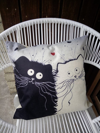 Black & White Cartoons in Love Cushion Cover