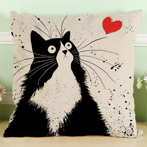 Black & White Cat with Heart Cushion Cover