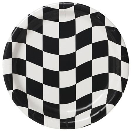Black & white check plates - 17cm