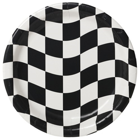 Black & white check plates - 18cm