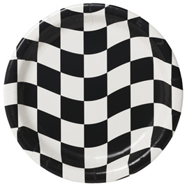Black & white check plates - 18cm