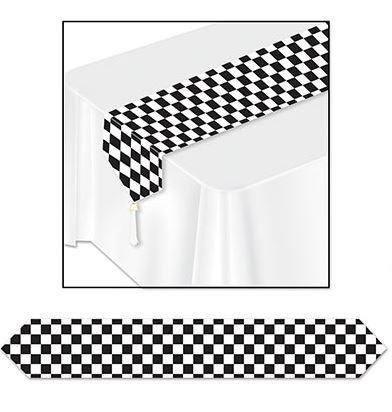 Black & white checkered table runner