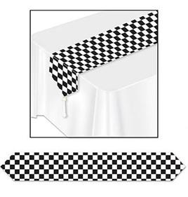 Black & white checkered table runner