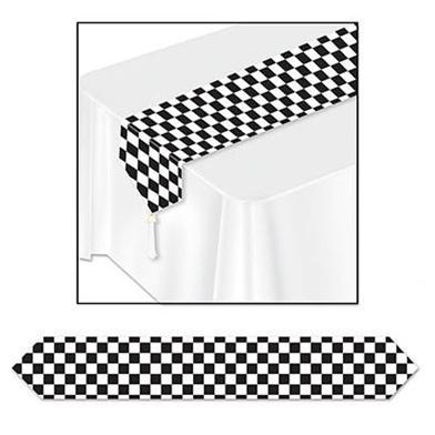 Black & white checkered table runner - paper