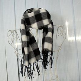 Black, White & Grey Plaid Wrap Winter Warm Fleece Scarf (UNISEX)
