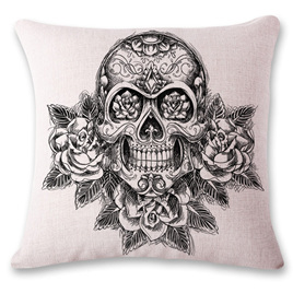 Black & White Roses & Skull Cushion Cover