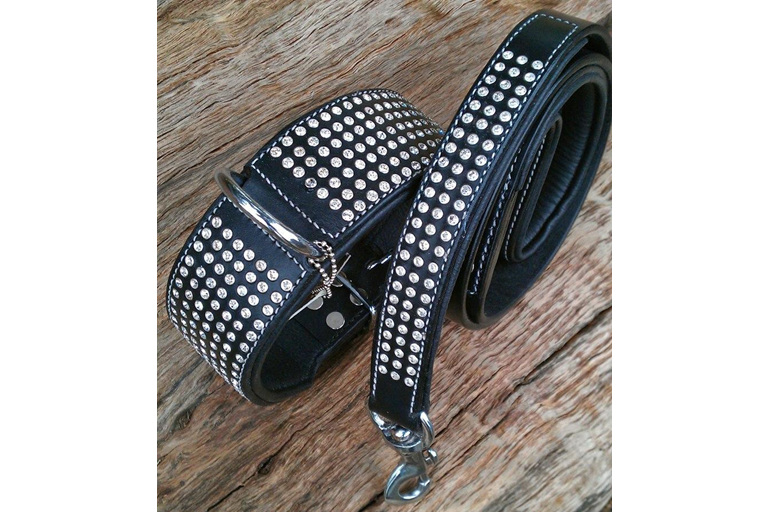 Black wide leather dog collar with crystals for big dogs by Rogue Royalty