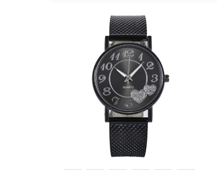Black with Double Hearts Watch