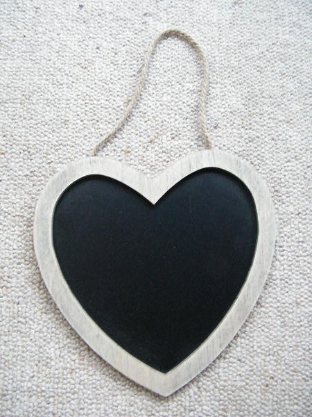 Blackboard - Hanging Heart Shaped Wooden Frame