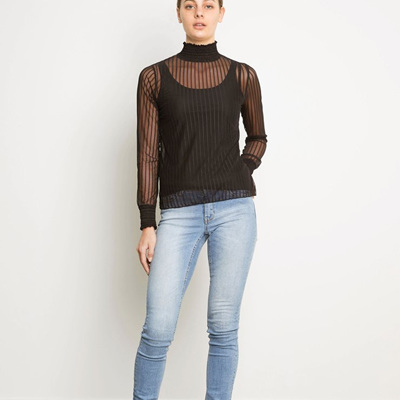 Blacklist - Striped Mesh Top