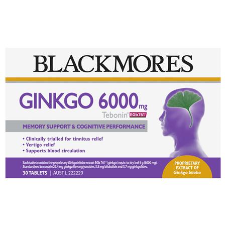 Blackmores Ginkgo 6000mg Tebonin, 30 Tablets (29146)