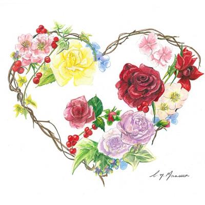 Blank Greeting Card - Heart Wreath