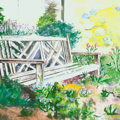 Blank Greeting Card - In the Garden