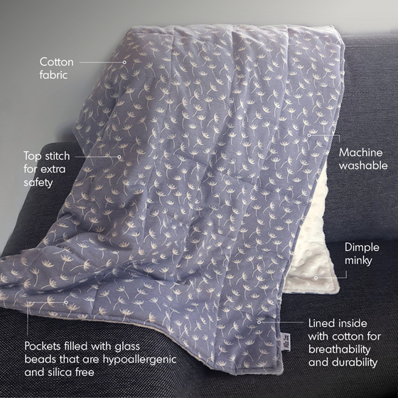 Bliss Weighted Blanket by Miss Izzy is custom made to your weight w glass beads
