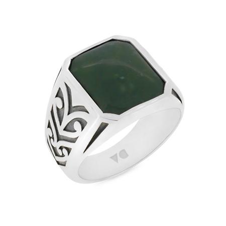Bloodstone Koru Engraved Signet Ring