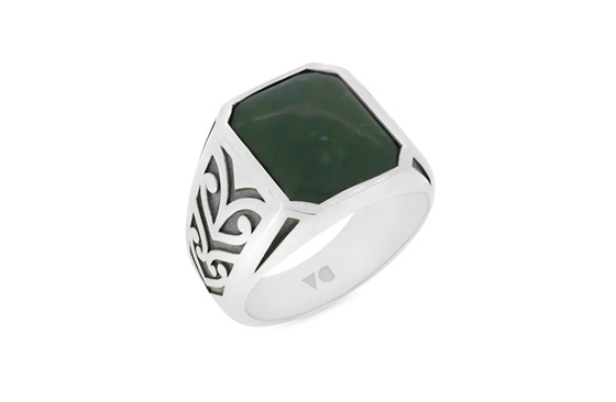 Bloodstone Koru Engraved Signet Ring