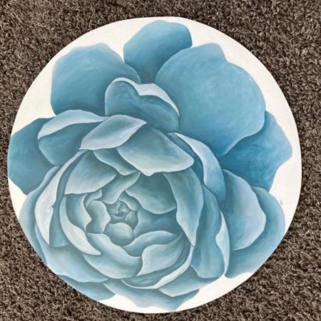 Bloom Series: Blue - 55cm painting on wood