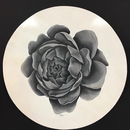 Bloom Series: Grey - 40cm painting on wood