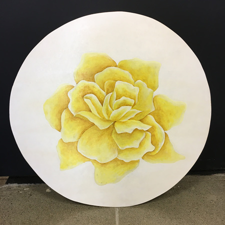 Bloom Series: Yellow - 53.5cm painting on wood