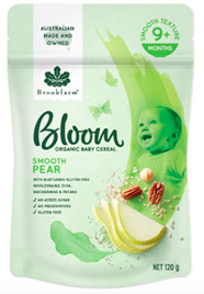 Bloom Smooth Pear Organic Baby Cereal 120g