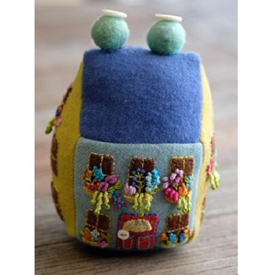 Blooming Bungalow Pincushion by Sue Spargo